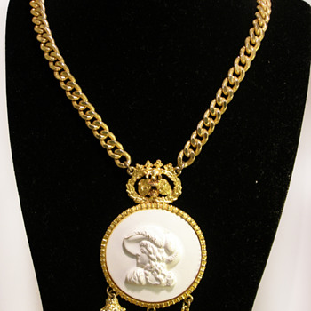 Vintage Pauline Rader Victorian Cameo with Drops Necklace - Costume Jewelry