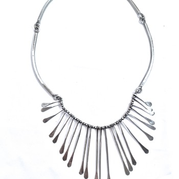 Mexican Silver Modernist Necklace