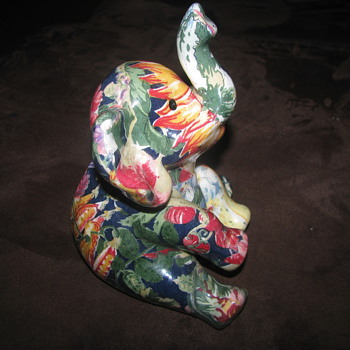 Colorful floral patchwork porcelain elephant
