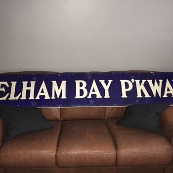 1918 NYC IRT Subway station sign - Pelham Bay Parkway