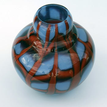 Kralik Blue and Red Webbed Vase - Art Glass