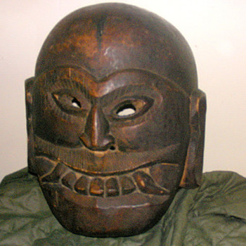 Fat Face and Fangs Wooden Mask - Folk Art