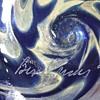 Miniature Oil Lamp Silver Inlay ? Murano ? Hand Blown Glass cobalt blue