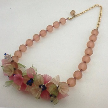 Vintage Murano floral glass bead choker/necklace - Costume Jewelry