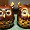Two little owlet lamps? incense holders?