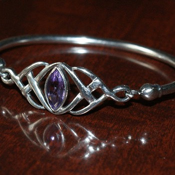 Celtic Silver Bangle with Amethyst - Fine Jewelry