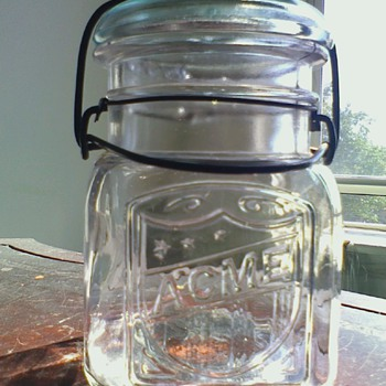Antique ACME Jar w/ Glass Lid & Wire