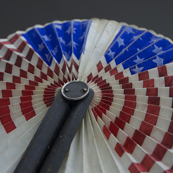 American flag round hand fan