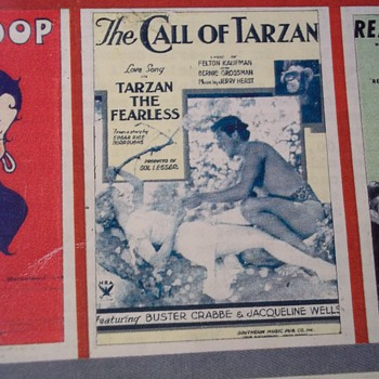 RARE SHEET MUSIC!  1933, From movie TARZAN THE FEARLESS, The Call Of Tarzan (song) BUSTER CRABBE AS TARZAN ON COVER