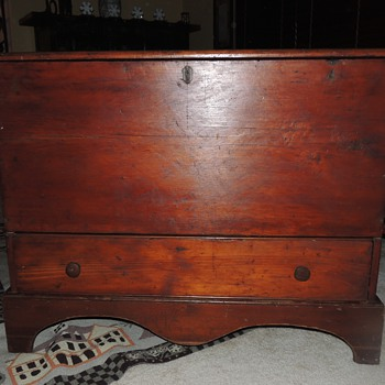 Late 18th Century Six Board Blanket Chest In Pine- New England Origin