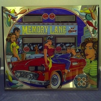 1970&#039;s pinball machine part - Memory Lane by Stern Front Glass  