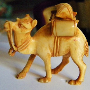 Vintage Antique Carved Ivory Camel Netsuke 1.75 x 1.60&quot; Found in Hibachi Drawer