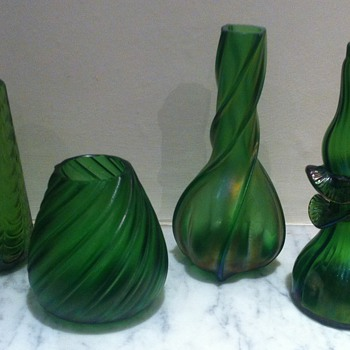 Green Art Nouveau vases - Art Glass