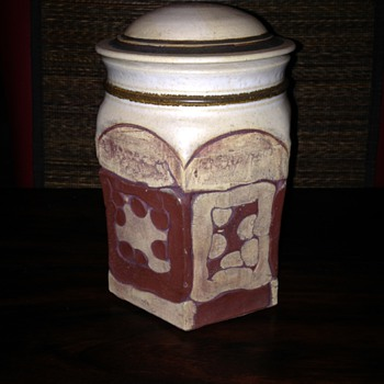 Brutalist Lidded Jar - Art Pottery
