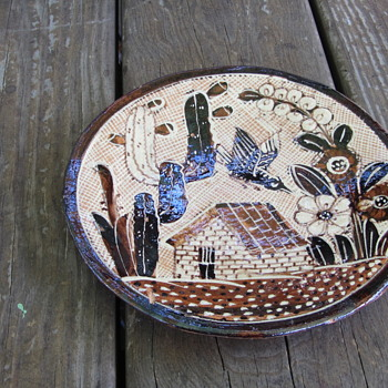 "1920-30s -Lucano Petatillo Dish 6-3/4"" - Traditional Folk Mexican Pottery - Casitas, Catus and Flowers - Tlaquepaque"