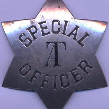 "early 1880's AT&SF Railway Special Officer marked ""AT"" for Arizona Territory"