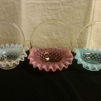 Complete Set of Fenton Hobnail Mini Baskets in Cranberry, Blue Opal, & French Opal