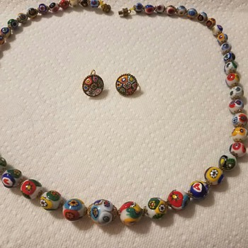Vintage Millefiori Venetian hand painted glass bead necklace and clip on earring set - unsure if Vintage?