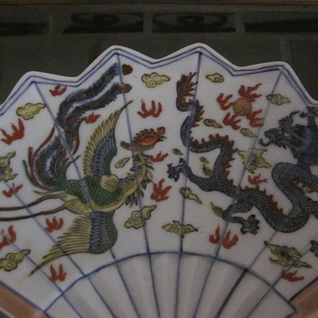 Unique Porcelain Fan Shaped dish  hand Painted Dragon Bird and Dragon