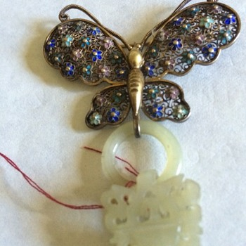 enameled silver and jade butterfly brooch