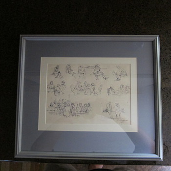  Clyde Singer  (Signed and Dated) - &quot;Bar Collage&quot; - Ink Drawing?