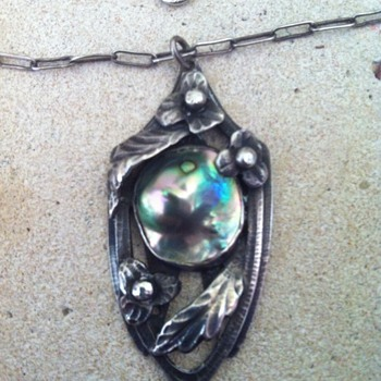 Unknown maker Arts and Crafts sterling and blister abalone pearl pendant and chain.