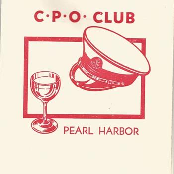 C.P.O. Club Pearl Harbor, Hawaii Dinner Menu 1952
