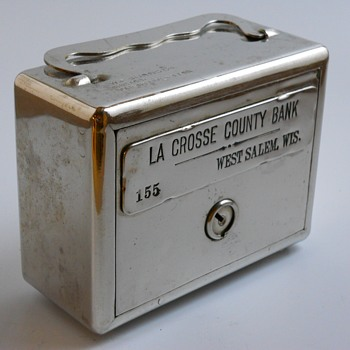 "Promotional Advertising Steel Bank"" La Crosse County Bank, West Salem, Wisconsin""Circa 1920"