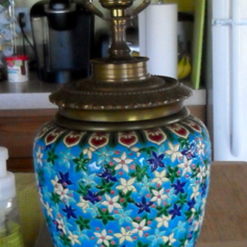 Longwy Faience Enamel & Bronze Lamp