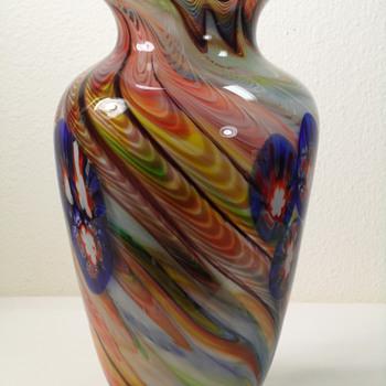 """Swirled Millefiori Color Vase ~ 10 1/2"""""""