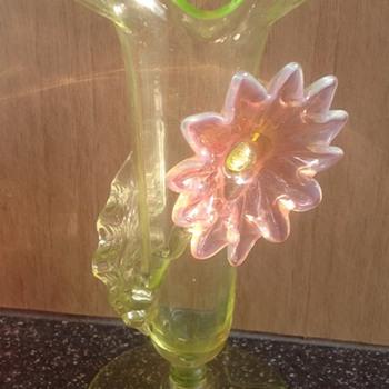 Uranium glass bud vase - Art Glass
