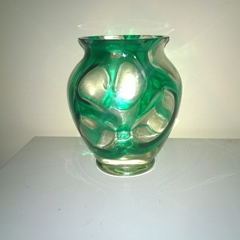 clear vase with overlayed green