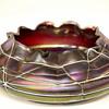 """Czech Art Nouveau """"Pallme Konig"""" RED Iridescent Veined Threaded Art Glass Bowl"""