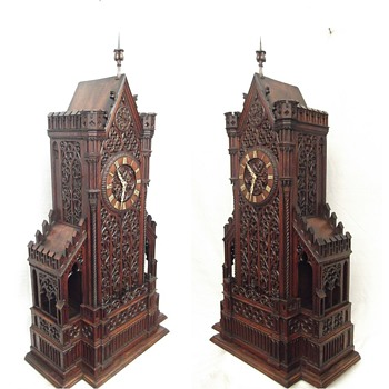 MAGNIFICENT Gothic carved cathedral 8-day shelf cuckoo clock.  1860. Johann Baptiste Beha.