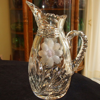 "GOWENS, KENT & COMPANY Brilliant Cut Glass ""Cross-Hatched DAISY"" PITCHER - Glassware"