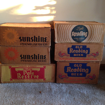 Old Reading & Sunshine Beer Cases