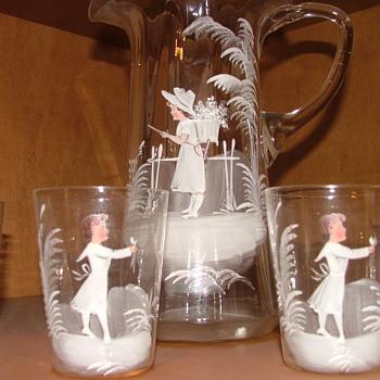 Grandma's Wedding Gift Handpainted Glass Pitcher and 4 cups - Art Glass