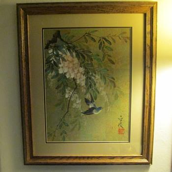 Asian Gouache Painting on Cork
