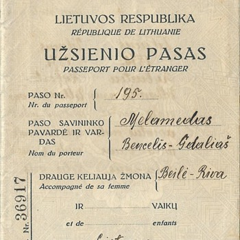 1935 Lithuanian passport for South Africa - Paper