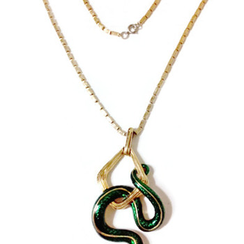 Vintage Joseph Mazer Coiled Snake Pendant Necklace - Costume Jewelry