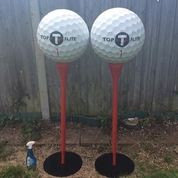 Golf advertising Pair 5ft Top Flite golf balls on Tees shop display? - Advertising
