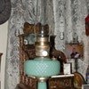 Aladdin Moonstone Quilt Jadeite Oil Lamp...1930&#039;s
