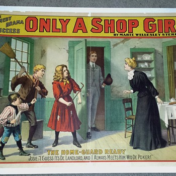 "Original 1902 ""Only A Shop Girl"" Stone Lithograph Poster"