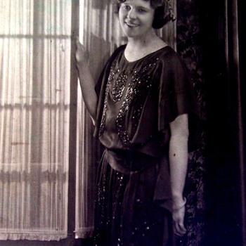 FLAPPER LADY IN BLACK BEADED DRESS, SHE IS VERY PRETTY 1920,s 8X10