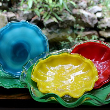 Kurata Japan glass serving plates - Art Glass