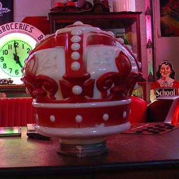 Original Red Crown Gas Globe With Collar...1920&#039;s-1930&#039;s - Petroliana