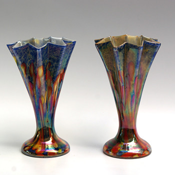 Kralik Millefiori Iridized star/fan vase  Pair of Awesome Blue