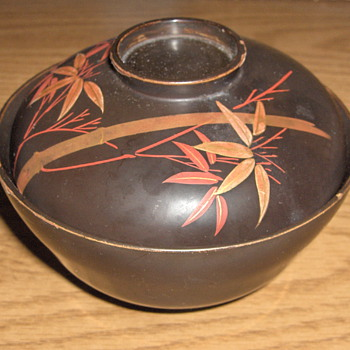 Old Japan Brown Lacquer on Wood Rice Bowl Signed Mid20th - Asian