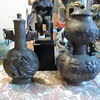 Chinese? metal jugs or urns?  8 inches tall with lids from Goodwill