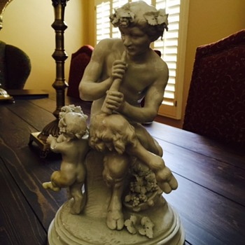 CLODION PORCELAIN GLAZED SCULPTURE OF PAN.